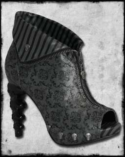TOO FAST GREY BLACK DAMASK SKULL HEEL STEAMPUNK VICTORIAN ZIP ANKLE