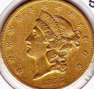 1855 S United States $20 Liberty Head Gold Eagle   XF+/AU