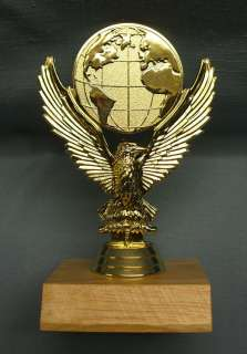 eagle globe trophy award wood base personalized