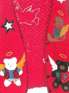 CHRISTMAS Sharon Young Sweater Vest Teddy Bear Siz e Medium