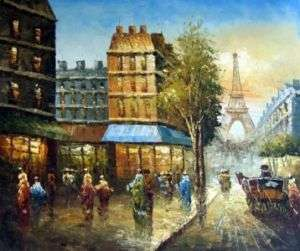 Paris Eiffel Tower Street Scene Oil Painting Stretched