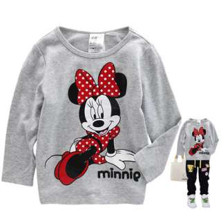 Gray Girls Minnie Mouse Long Sleeve T shirt 1 6 years