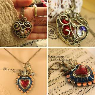 Vintage Colorful Heart Pendant Necklace Rhinestone Locket Long Chain