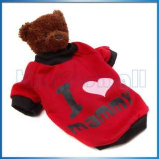 Dark Red Pet Dog T Shirt Coat Jacket Clothes Apparel S