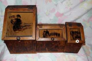 Wood Wooden Wood Cookie Bin Recipe Box Open Salt canister set