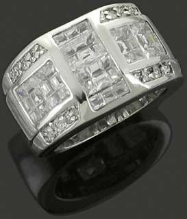 Mens 925 Sterling Silver Invisible Set CZ Iced Out Bling Band Ring