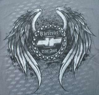GM Chevy Chevrolet Wings Live Fast T Shirt Gray NWT