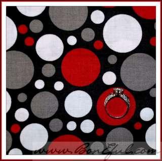 Gray Red Black White Circle Polka DOT Multi Cotton Baby Spot FQ