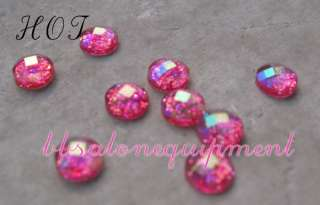 Hot Pink Glitter Rhinestones Nail Art Design Manicure