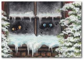 Cat Frosty Paws in Window Winter Snow Fun ArT   BiHrLe LE Print ACEO