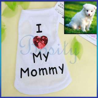 Puppy Pet Dog Vest T shirt Apparel Clothes Coat Dress M