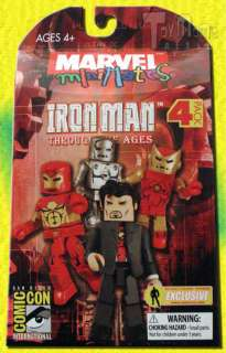 MARVEL MINIMATES IRON MAN THROUGH THE AGES 4 PACK SDCC