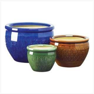 SUMPTUOUS FLOWER POT TRIO Ceramic Garden Planters NEW