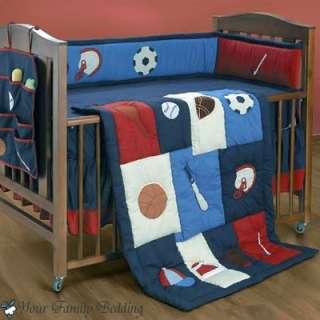 Baseball Sports Nursery 6pc Baby Boy Football Crib Bedding Set