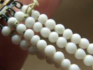Vintage Art Deco 4 Strand Milk Glass Seed Bead Choker Necklace