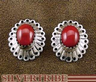 Sterling Silver Jewelry Coral Concho Post Earrings
