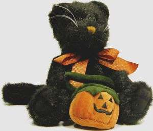 Boyds Pepper B Scaredycat Halloween Cat plush pumpkin