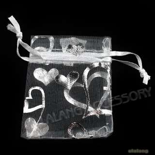 50x Charms White Heart Love Organza Wedding Pouch Favors Gift Bags 5