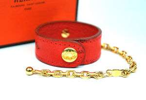 Auth HERMES Red Ostrich & Gold Chain Glove Holder +Box