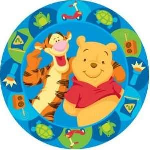 Kinderteppich rund Disney Winnie Pooh und Tigger blau