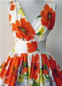 50s Vtg Style Floral Poppies Pinup Swing Dress Small