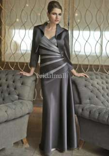 made pleated beaded V neckline long satin mother of bride dress