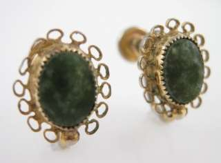 VINTAGE A.C. Gold Fill Jade Filigree Screw On Earrings