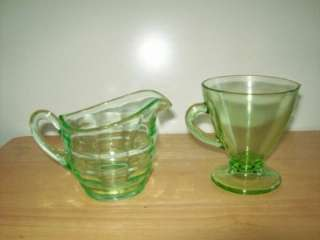 Depression Era Uranium Green Glass Creamers