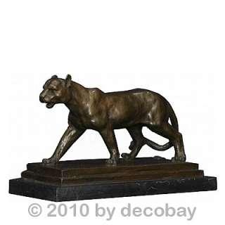 Dekofigur Jaguar Raubkatze Bronze Figur Statue Antik