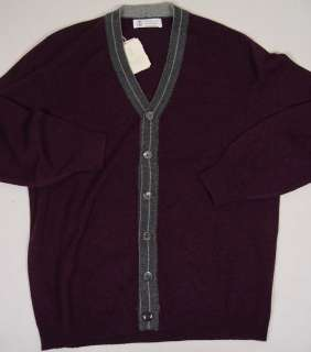 BRUNELLO CUCINELLI SWEATER BORDEAUX/GRAY 100%CASHMERE 6 BTN CARDIGAN