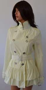 695 SHERBERT YELLOW PEPLUM RUFFLE TRENCH RAIN COAT JACKET~8 42