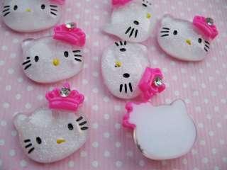 20 Mini Resin 17mm Hello Kitty Flatback Hot Pink Crown