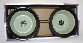 3PC DOG or CAT BLACK+GREEN PAW M/D SAFE FOOD+WATER BOWL+ELEVATED STAND