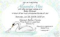 Personalized Custom Made Swan Baby Shower Invitations