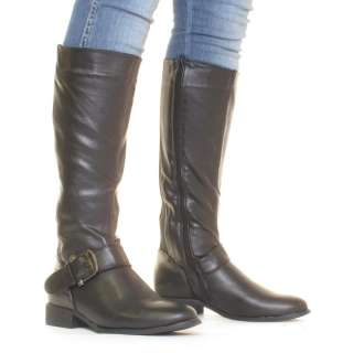 WOMENS BLACK STRETCH WIDE CALF FIT FLAT LADIES KNEE RIDING BOOTS SIZE