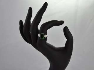 Lovely 14k White Gold Ring with 2.5 Carat Green Tourmaline and Diamond