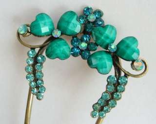VARY COLORS SWAROVSKI CRYSTAL BRONZE FLOWER HAIR STICK PIN PICK 475