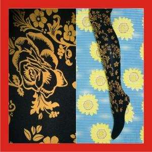 New Floral Black Gold Opaque Tights Pantyhose f252