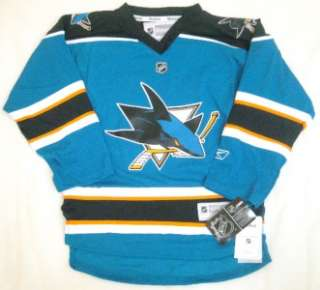 NHL Reebok San Jose Sharks Youth Team Color Teal Jersey New with tags