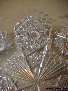 Vintage Elegant 2 Handled Cut Glass Bowl Multi Motif