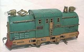 PRE WAR AMERICAN FLYER O SCALE NO. 3116 GREEN CENTER CAB POWERED