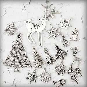 16 Antique Silver Christmas Tree Snowflake Sock Animal Deer Charm