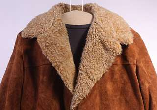 MENS VTG SOFT LEATHER/FAUX SHEEPSKIN RANCH COAT sz L
