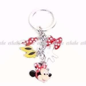 Minnie Mouse Metal Keychain Key Ring Chain Charm 2MPC