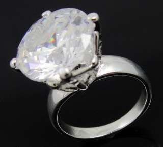 BIG CRYSTAL Prong CIRCLE SOLITAIRE STY SILVER PLATED FASHION JEWELRY