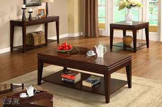 3PC RICHMOND CHERRY WOOD FLIP TOP COFFEE END TABLE SET