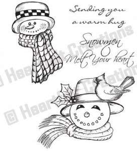 Heartfelt Creations Cling Rubber Stamp Set   Snowmen Melt Your Heart