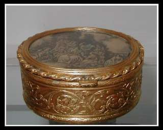 Antique Dore Bronze Trinket Box w Hand Colored Print NR