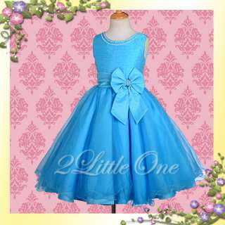 Blue Wedding Flower Girl Pageant Party Dress Size 7 8