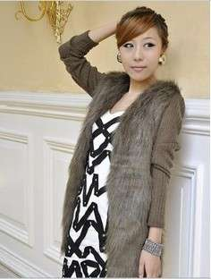 GK5174 Fashion womens Luxuriant temperament faux fur knitting coat